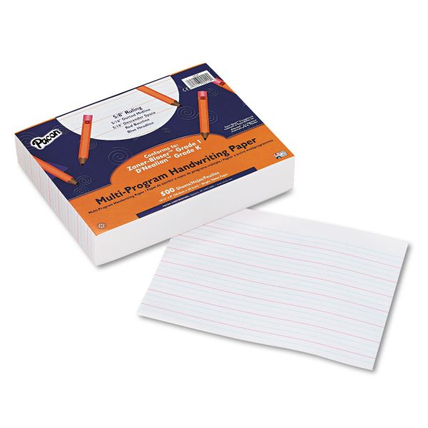 "Pacon Multi-Program Handwriting Paper, 5/8"" Long Rule, 10-1/2 x 8, White, 500 Shts/Pk"