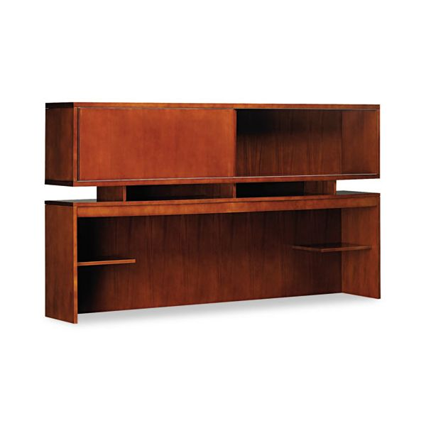 Mayline Stella Series Wood Veneer Hutch, 72w x 14d x 41h, Toffee