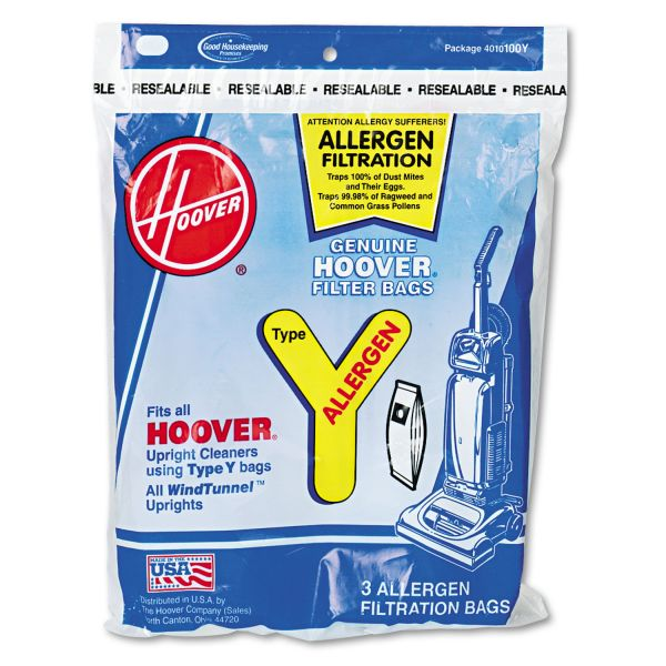 Hoover Commercial Disposable Allergen Filtration Bags For Commercial WindTunnel Vacuum, 3/Pack