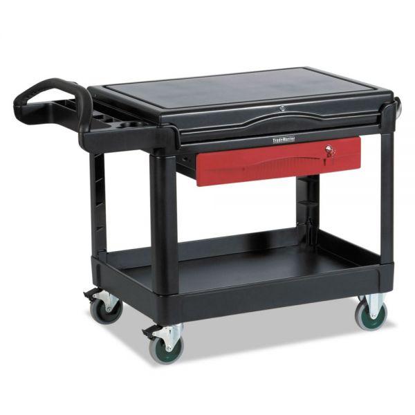 Rubbermaid Commercial TradeMaster Cart, 500-lb Cap, One-Shelf, 38-5/8w x 52-1/2d x 37-7/8h, Black