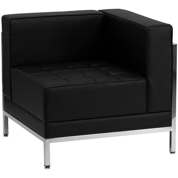 Flash Furniture Contemporary Black Leather Right Corner Chair