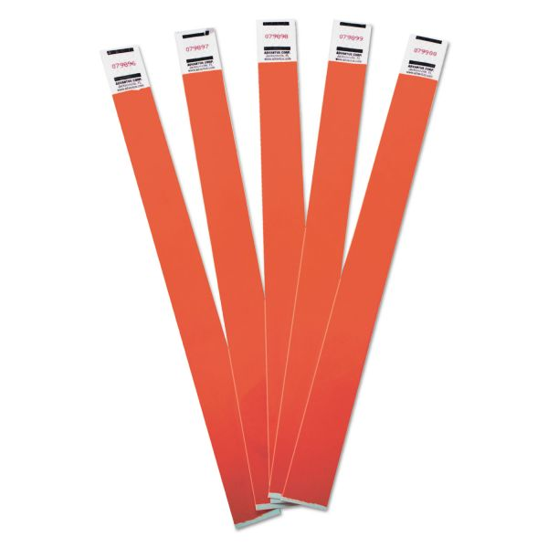 Advantus Crowd Management Wristbands, Sequentially Numbered, Red, 100 Per Pack