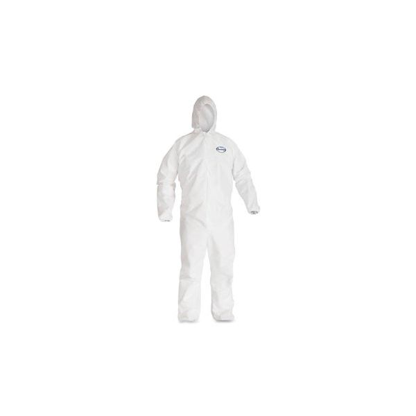 KleenGuard* A40 Elastic-Cuff Hooded Coveralls, White, X-Large, 25/Case