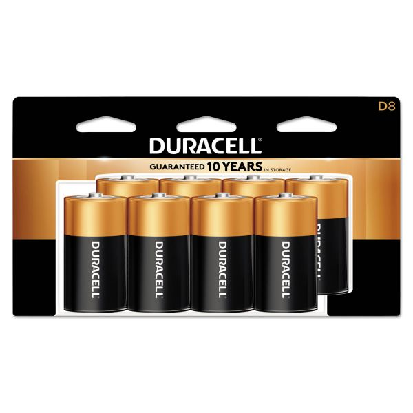 Duracell CopperTop Alkaline Batteries, D, 8/PK