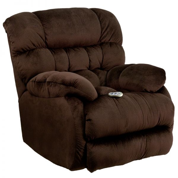 Flash Furniture Massaging Sharpei Chocolate Microfiber Rocker Recliner with Heat Control