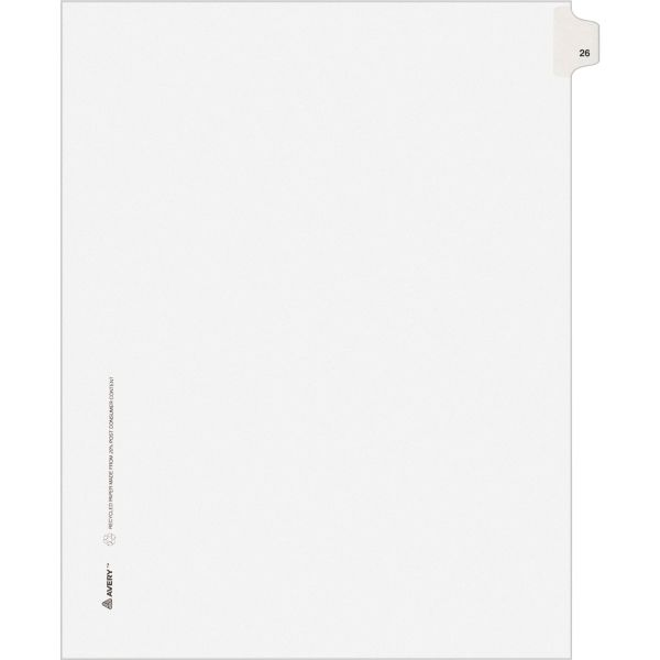 Avery Allstate-Style Legal Exhibit Side Tab Divider, Title: 26, Letter, White, 25/Pack