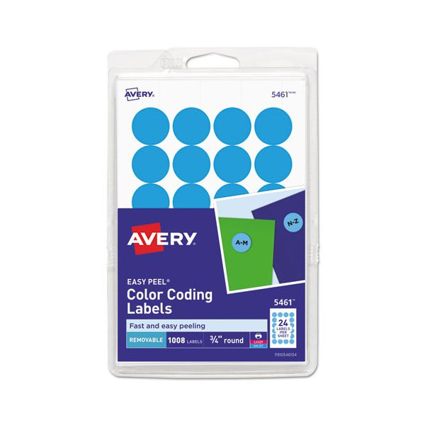"""Avery Printable Removable Color-Coding Labels, 3/4"""" dia, Light Blue, 1008/Pack"""