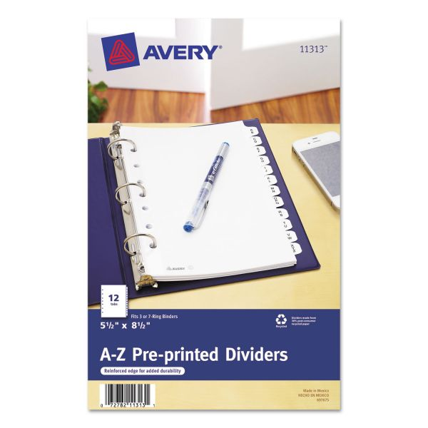 "Avery 5 1/2"" x 8 1/2"" Preprinted Alphabet Tab Index Dividers"