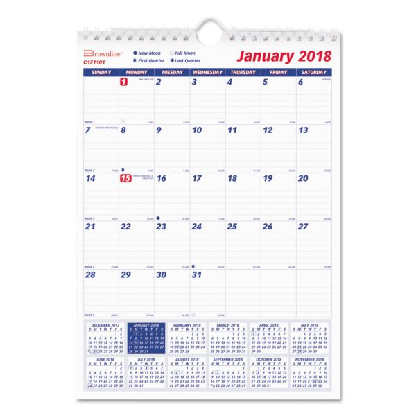 Rediform 1PPM Lined Block Monthly Wall Calendar
