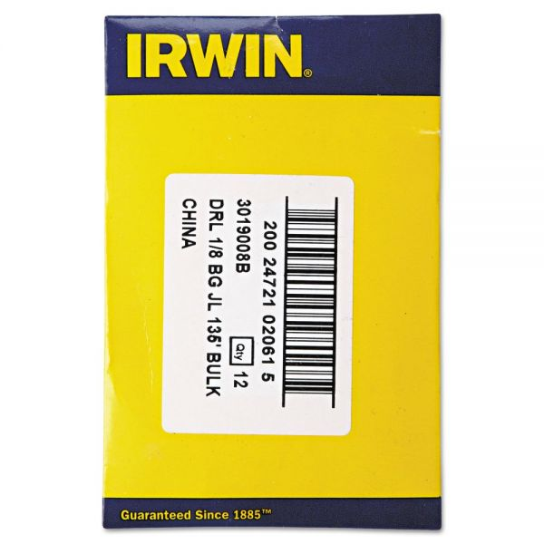 "IRWIN Black and Gold HSS Fractional Drill Bit, 1/8"", 135 Degrees"