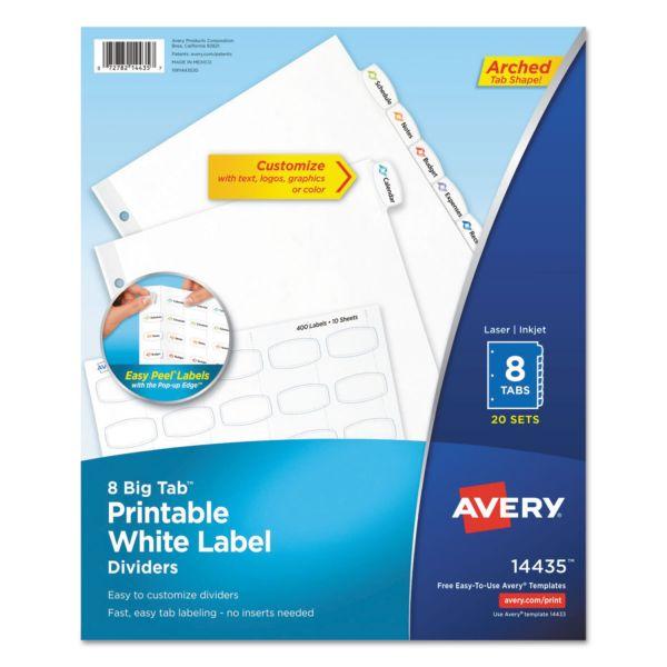 Avery Big Tab White Label Tab Dividers, 8-Tab, White Tab, Letter, 20 Sets