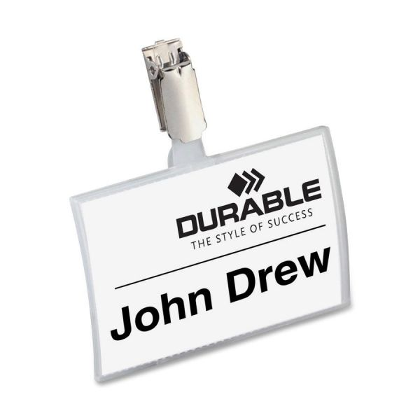 Durable Click-Fold Name Badge with Strap Clip