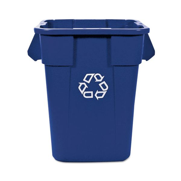 Rubbermaid Commercial Brute Recycling Container, Square, Polyethylene, 40 gal, Blue