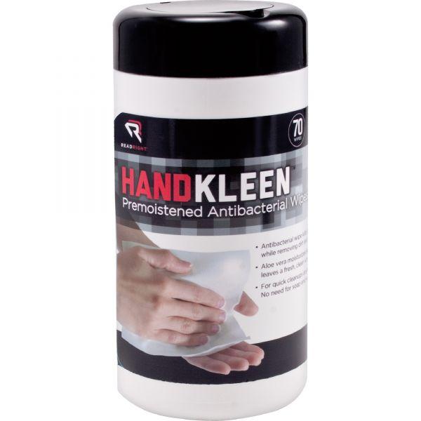 Read Right HandKleen Premoistened Wipes, Cloth, 5 1/2 x 6 1/2, 70/Tub