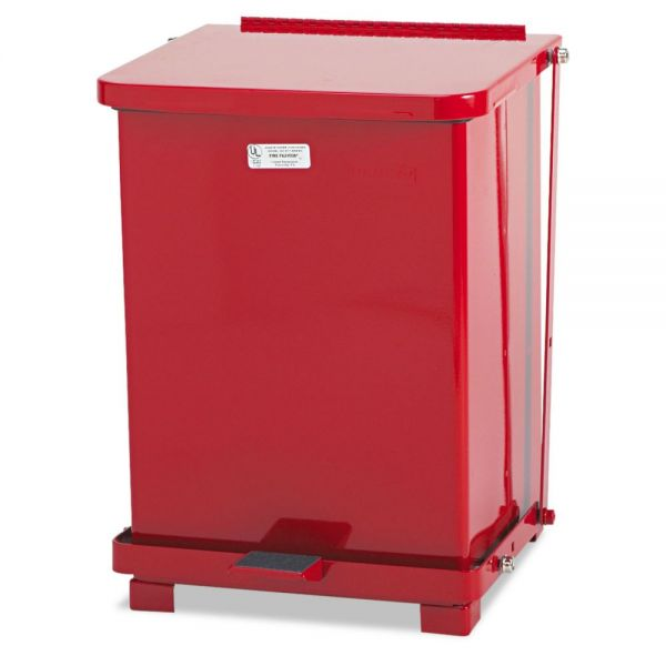 Rubbermaid Commercial Defenders Biohazard Step Can, Square, Steel, 7 gal, Red