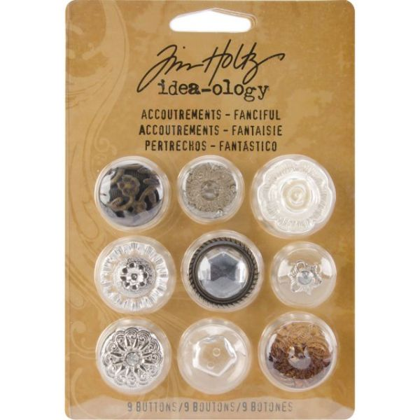 "Idea-Ology Accoutrements Buttons .625"" To 1"" 9/Pkg"