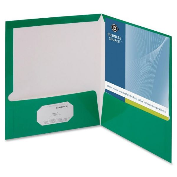 Business Source Laminated Green Two Pocket Folders