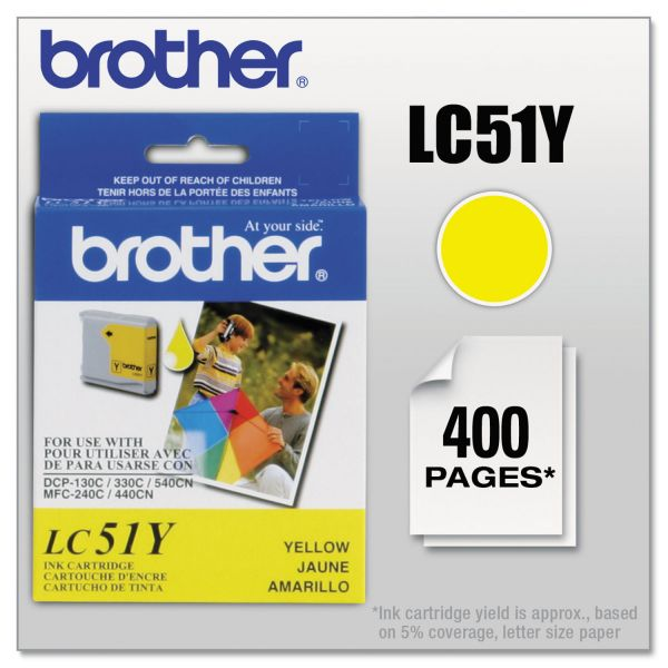Brother LC51Y Innobella Ink, 400 Page-Yield, Yellow