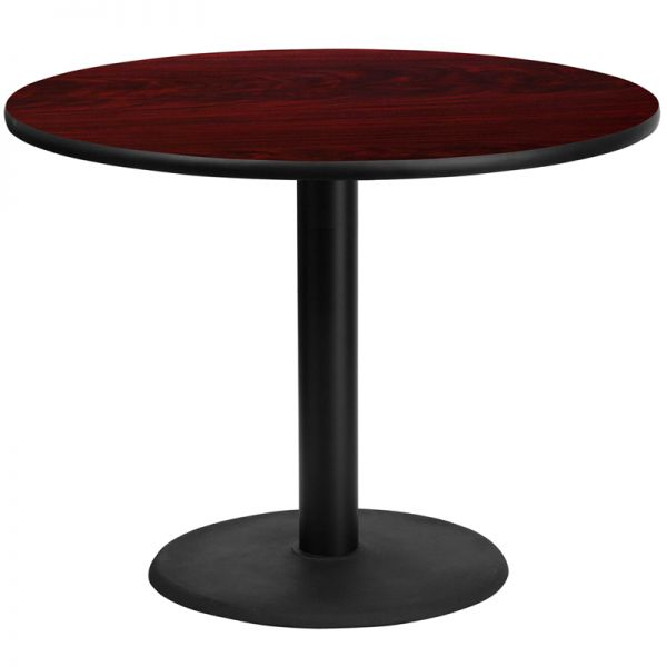 Flash Furniture 42'' Round Mahogany Laminate Table Top with 24'' Round Table Height Base