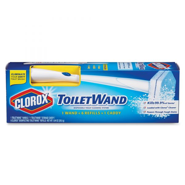 Clorox Toilet Wand Disposable Toilet Cleaning Kit: Handle, Caddy & Refills, 6/Carton