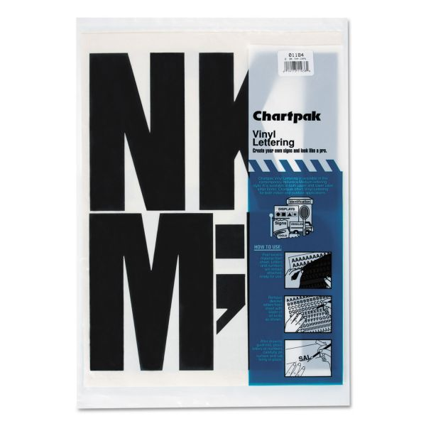 Chartpak Press-On Vinyl Uppercase Letters, 6 High, Black