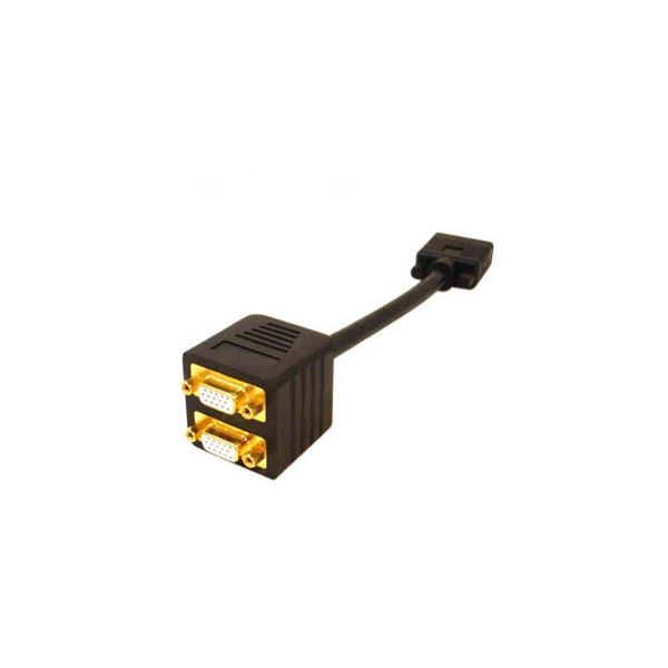 AddOn 20.00cm (8.00in) VGA Male to Female Black Splitter Cable