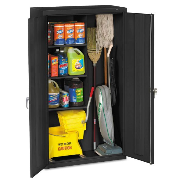 Tennsco Janitorial Cabinet, 36w x 18d x 64h, Black