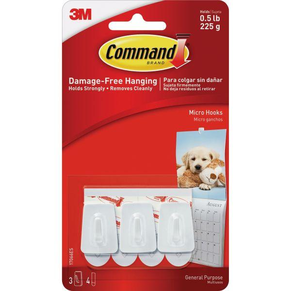 Command General Purpose Hooks, Micro, 0.5lb Cap, White, 3 Hooks & 4 Strips/Pack