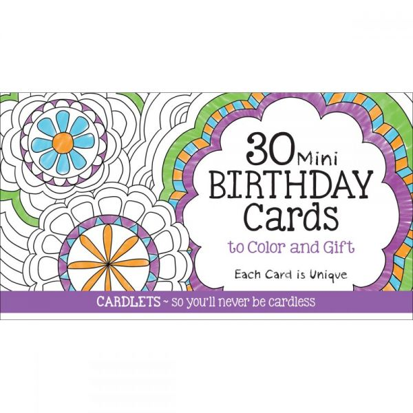 Coloring Cafe Mini Birthday Coloring Cards 30/Pkg