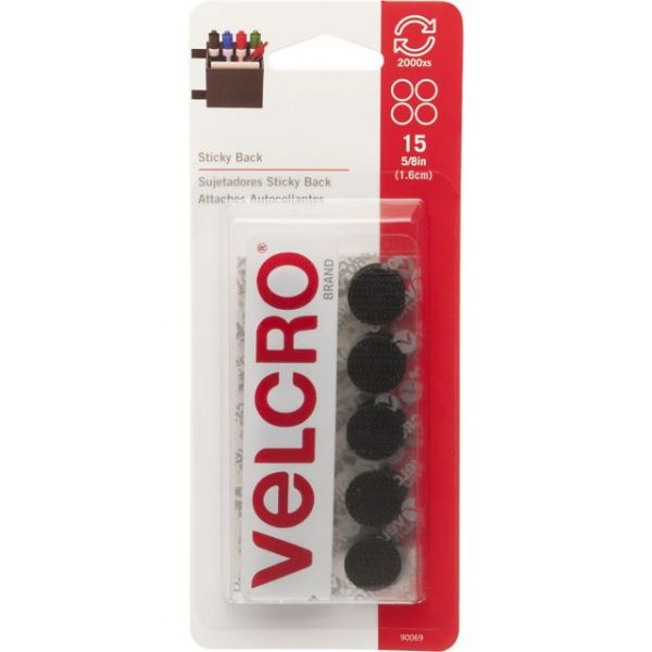 "VELCRO(R) Brand STICKY BACK Coins 5/8"" 15/Pkg"