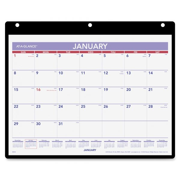 AT-A-GLANCE Monthly Desk/Wall Calendar, 11 x 8 1/4, White, 2019