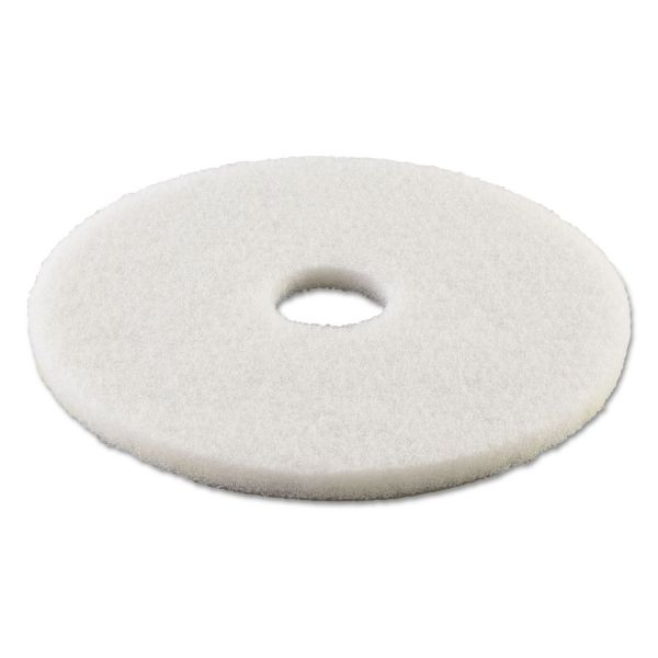 "Boardwalk Standard Polishing Floor Pads, 13"" Diameter, White, 5/Carton"