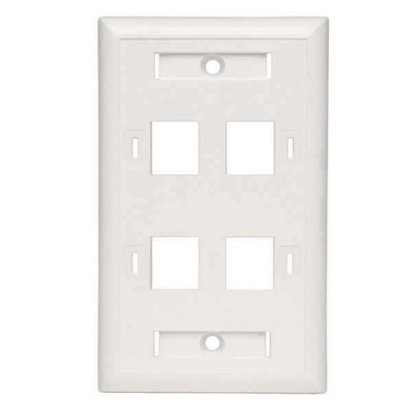 Tripp Lite Quad Outlet RJ45 Universal Keystone Face Plate / Wall Plate, White, 4-Port