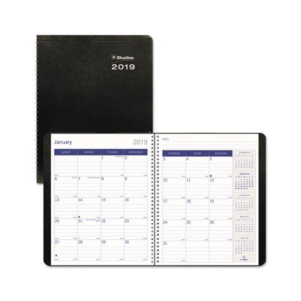 Blueline DuraGlobe 14-Month Planner, Soft Corinth Cover, 8 7/8 x 7 1/8, Black, 2019
