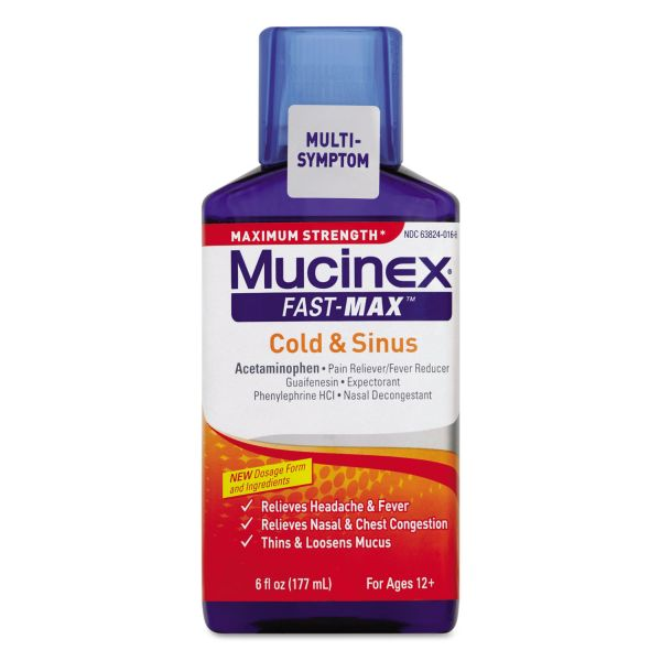 Mucinex Maximum Strength Fast Max Cold & Sinus, 6oz Bottle,