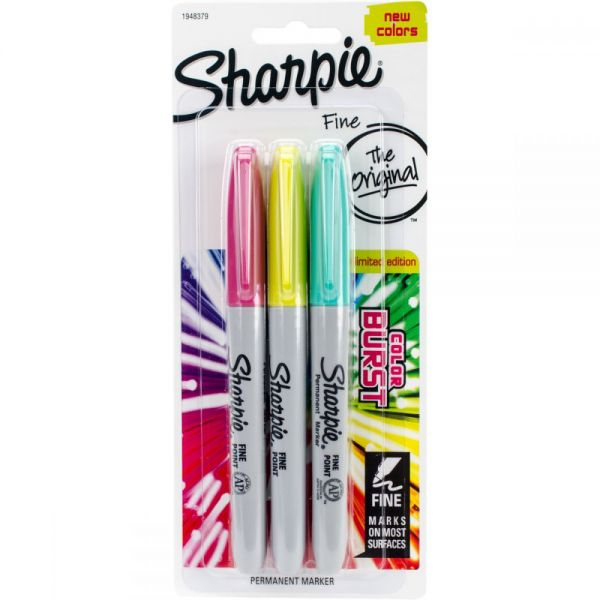 Color Burst Permanent Markers Fine 3/Pkg