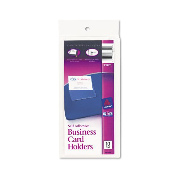 Avery Self-Adhesive Business Card Holders, Top Load, 3-1/2 x 2, Clear, 10/Pack
