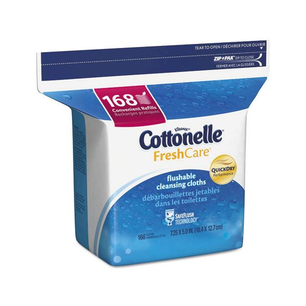 Cottonelle Fresh Care Flushable Cleansing Cloths, White, 5 x 7 1/4, 168/Pack