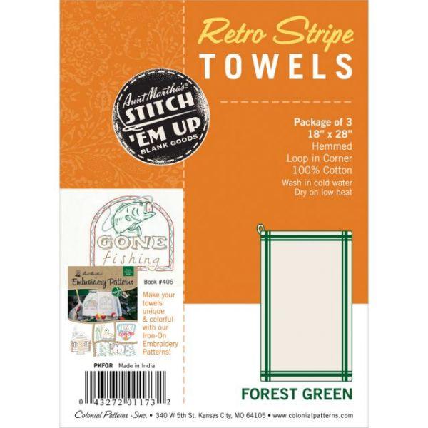 "Stitch 'Em Up Retro Stripe Towels 18""X28"" 3/Pkg"