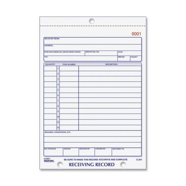 Rediform Carbonless Receiving Record Slip Book