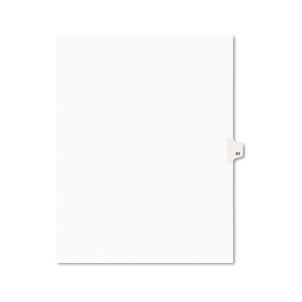 Avery Avery-Style Legal Exhibit Side Tab Divider, Title: 63, Letter, White, 25/Pack