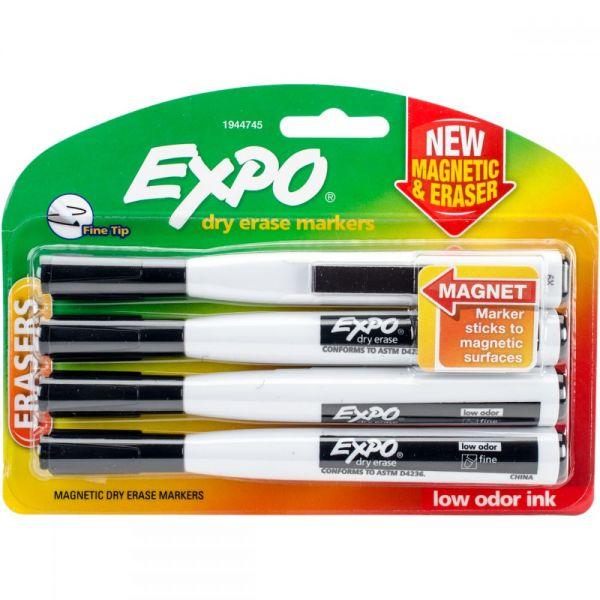Magnetic Dry Erase Fine Marker With Eraser 4/Pkg