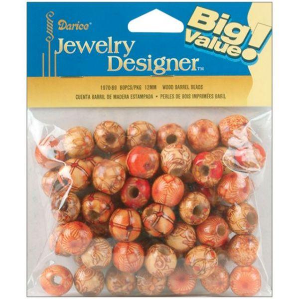Darice Jewelry Designer Wood Barrel Beads