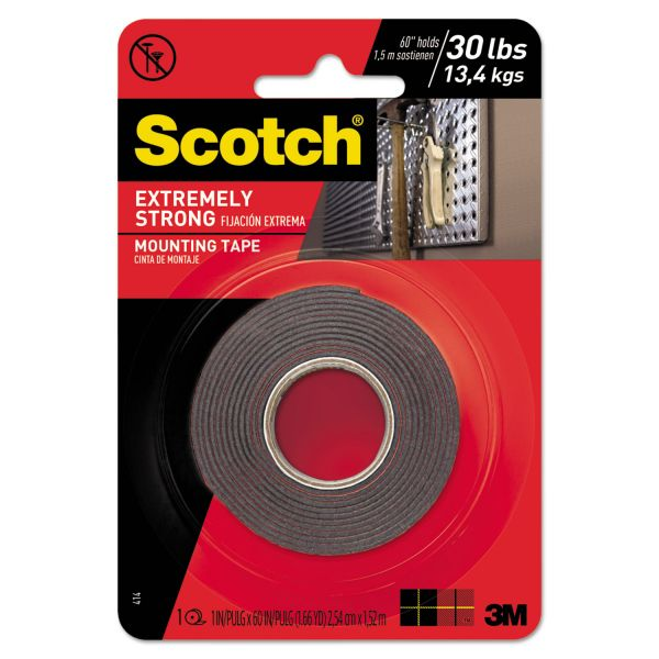 "Scotch Extreme Mounting Tape, 1"" x 60"", Black"