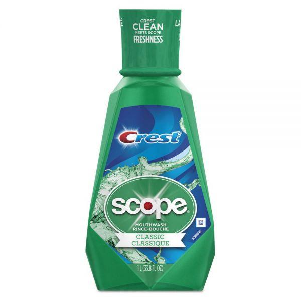 Crest Crest + Scope Mouth Rinse, Classic Mint, 1 L Bottle