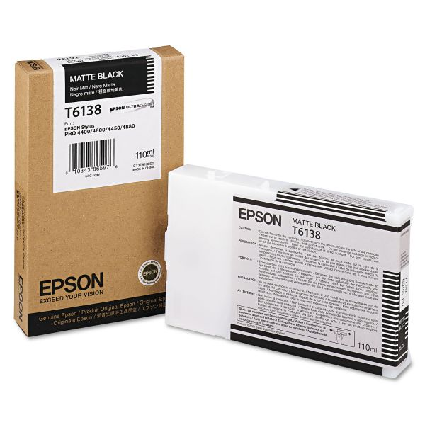 Epson T6138 Matte Black Ink Cartridge