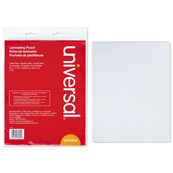 Universal Letter Size Laminating Pouches