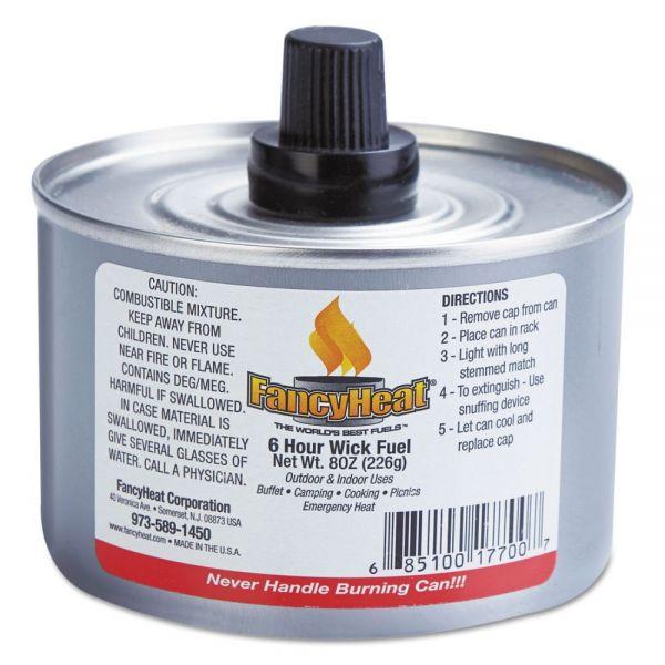 Fancy Heat Chafing Fuel Can, Stem Wick, 4-6hr Burn, 8oz, 24/Carton