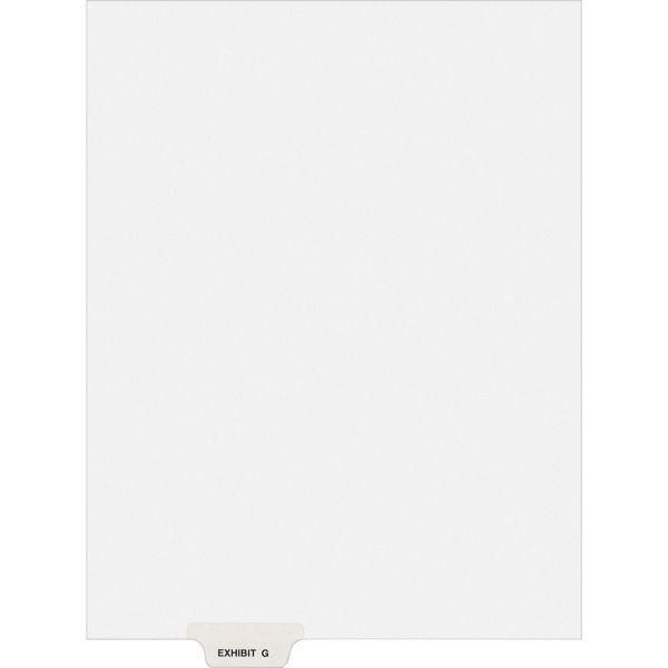 Avery-Style Preprinted Legal Bottom Tab Divider, Exhibit G, Letter, White, 25/PK