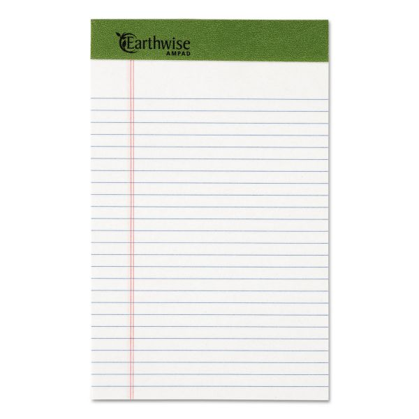 Ampad Earthwise by Ampad Recycled Writing Pad, Narrow, 5 x 8, White, Dozen